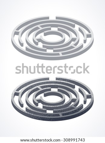 Isometric circle mazes. 3d labyrinths - stock vector