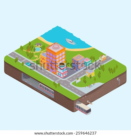 Isometric City Center map with Buildings, Zoo, sea and Subway - stock vector