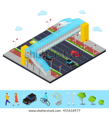 Isometric City. City Road with Pedestrian Bridge and Bicycle Path. Vector illustration - stock vector