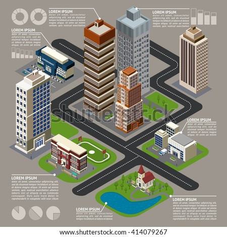 Isometric city infographics with  buildings street skyscrapers connected by dotted lines with charts and graphs vector illustration - stock vector