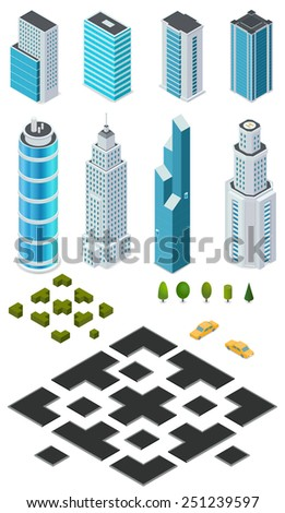 Isometric city map creation kit with buildings, roads, trees, bushes and car. - stock vector