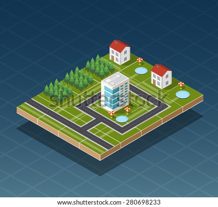 Isometric city map road, trees and building home elements  vector illustration. - stock vector