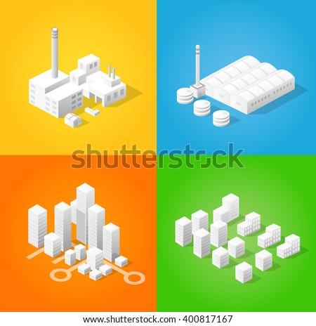 Isometric city of industry factories - stock vector
