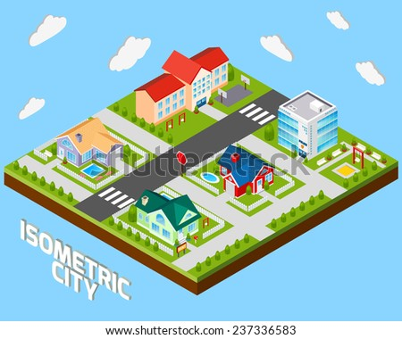 Isometric city project with police office and private family houses 3d vector illustration - stock vector