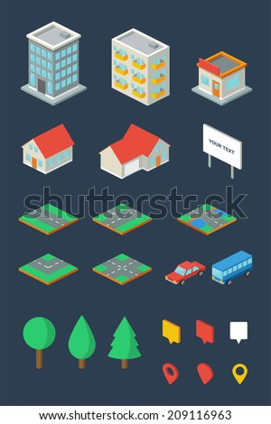 Isometric city, vector elements - stock vector