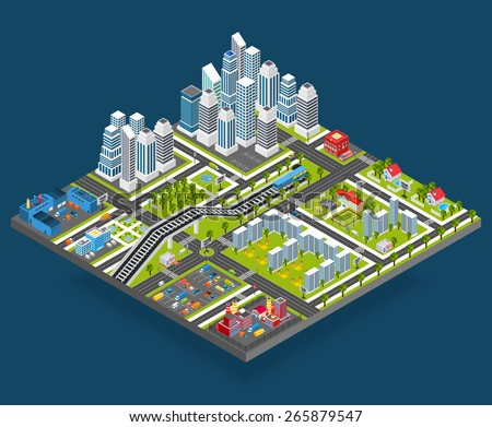 Isometric city with 3d houses manufacture office and store building blocks vector illustration - stock vector