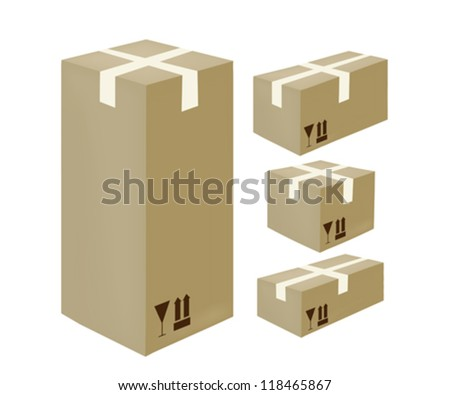 Isometric closed card-box icons with fragile stamp - stock vector