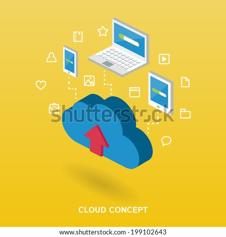 Isometric cloud computing concept illustration for web. - stock vector