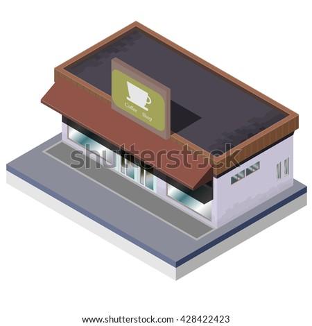 Isometric coffee shop. Vector illustration. - stock vector
