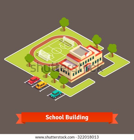 Isometric college campus or school building with soccer field in the courtyard and parking lot. Flat style vector illustration isolated on white background. - stock vector