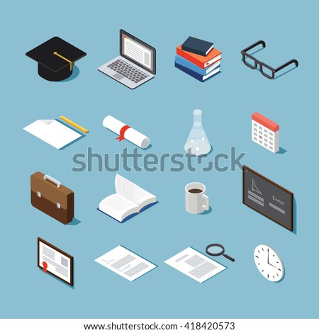 Isometric college student vector set: graduation cap, laptop, stack of books,glasses, piece of paper, diploma, test-tube, calendar, briefcase, open book, cup of coffee, black board, framed diploma. - stock vector