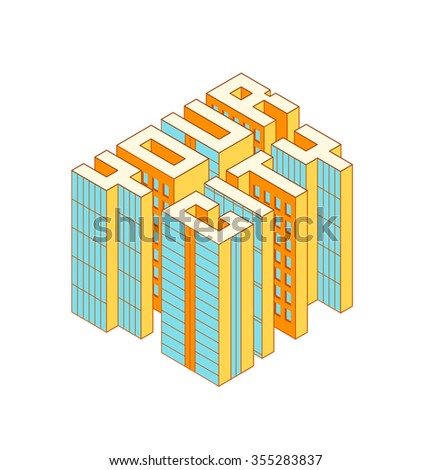 Isometric colorful buildings in the form of Your City text. Isometric vector illustration.  Real estate. Modern building icon. - stock vector