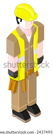 isometric construction worker with tools and protection. Isometric Construction worker. - stock vector