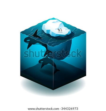 Isometric cube illustration with with iceberg, orcas and penguins in the ocean - stock vector