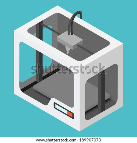 Isometric 3D Printer on a Blue Background. Vector Illustration. - stock vector
