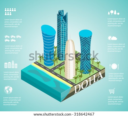 Isometric 3d skyscrapers in the skyline of the center of Doha, the capital of the Arabian Gulf state Qatar, vector illustration. Infographics  with icons set - stock vector
