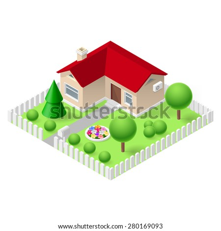 Isometric 3d small home fenced with green grass and trees - stock vector