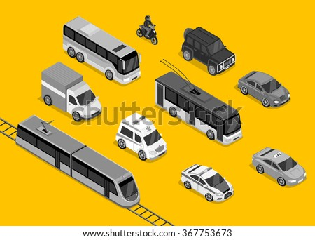 Isometric 3d transport set flat design. Car vehicle, transportation traffic, truck van, auto cargo, bus and automobile, police and motorcycle illustration - stock vector