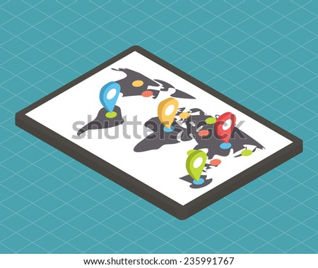 Isometric 3d vector map with pointers. Flat design illustration - stock vector