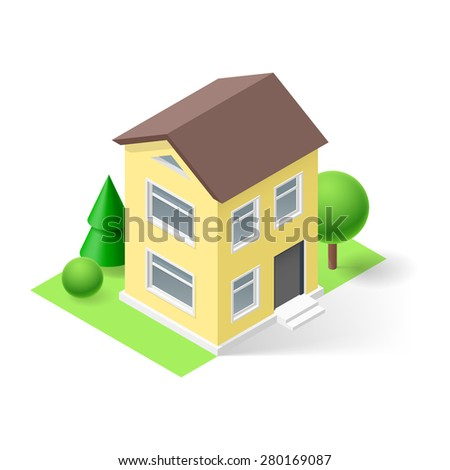 Isometric 3d  yellow small house  with flowers and trees - stock vector
