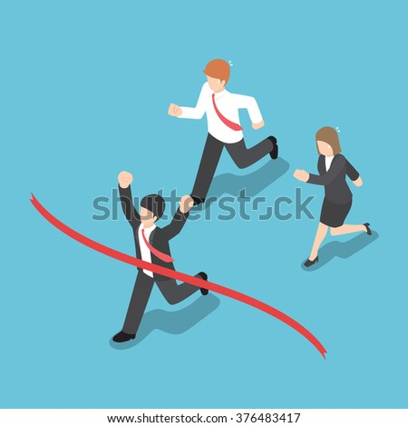 Isometric design businessman winning competition and crossing the finish line, VECTOR, EPS10 - stock vector