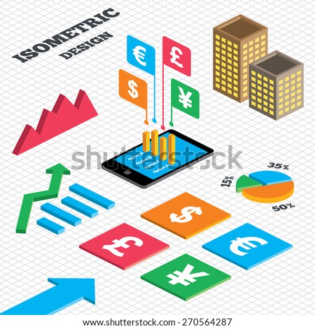 Isometric design. Graph and pie chart. Dollar, Euro, Pound and Yen currency icons. USD, EUR, GBP and JPY money sign symbols. Tall city buildings with windows. Vector - stock vector
