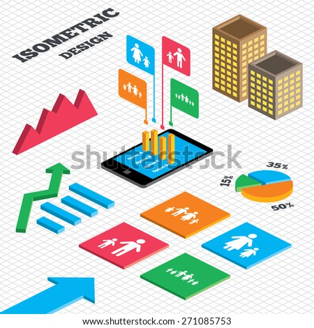 Isometric design. Graph and pie chart. Large family with children icon. Parents and kids symbols. One-parent family signs. Mother and father divorce. Tall city buildings with windows. Vector - stock vector