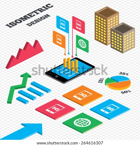 Isometric design. Graph and pie chart. Mobile telecommunications icons. 3G, 4G and 5G technology symbols. World globe sign. Tall city buildings with windows. Vector - stock vector