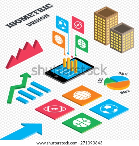 Isometric design. Graph and pie chart. Sport balls icons. Volleyball, Basketball, Soccer and American football signs. Team sport games. Tall city buildings with windows. Vector - stock vector