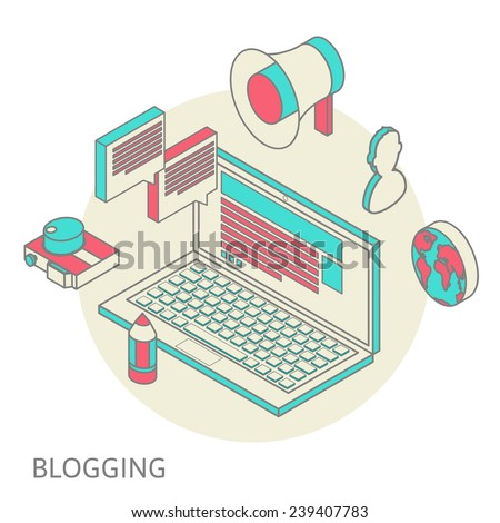 Isometric design modern vector illustration concept of blogging - stock vector
