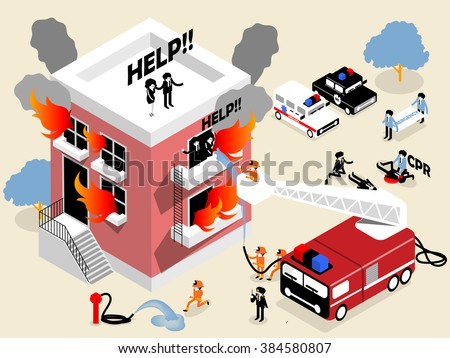 isometric design of firefighters or fireman fighting building on fire and rescuing woman and man who stuck in there,firefighters career concept design - stock vector