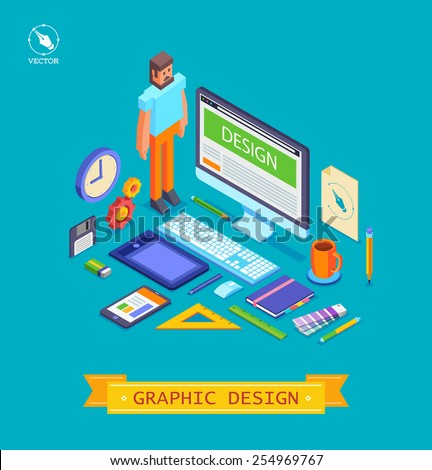 Isometric design style modern vector illustration icons set of graphic designer items and tools, office various objects and equipment. Isolated on stylish color background - stock vector