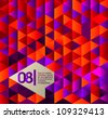 Isometric design, useful for web banner, infographics or graphic design - orange-violet version - stock vector