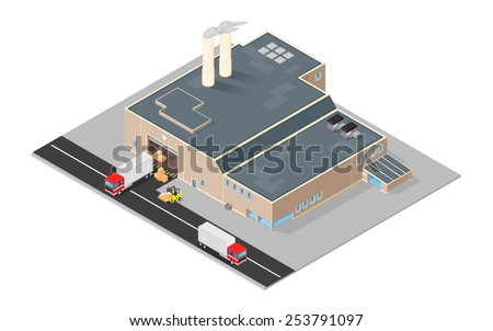 Isometric distribution warehouse with trucks loading and unloading goods. Isometric Factory distribution warehouse. Manufacturer distributing goods. - stock vector