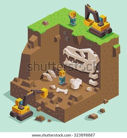 isometric Excavation on fossil archaeological site - stock vector