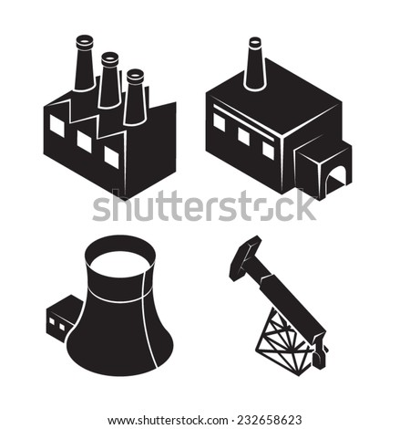 Isometric factory icons - stock vector