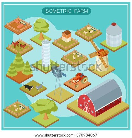 Isometric farm icon set - stock vector
