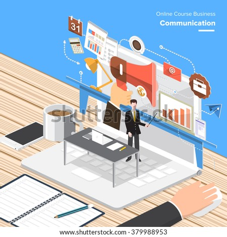 Isometric Flat design concepts for Business Consulting, Communication, Social Media Analystic. Concepts for web banners and promotional materials. - stock vector