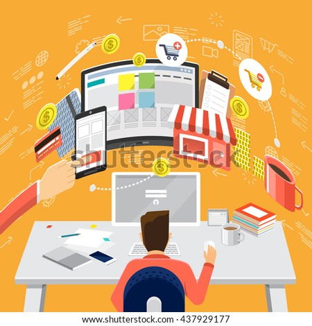 Isometric Flat design concepts for Online Business Strategic Plan, Payment Plan, Store Management Concepts for web banners and promotional materials. - stock vector