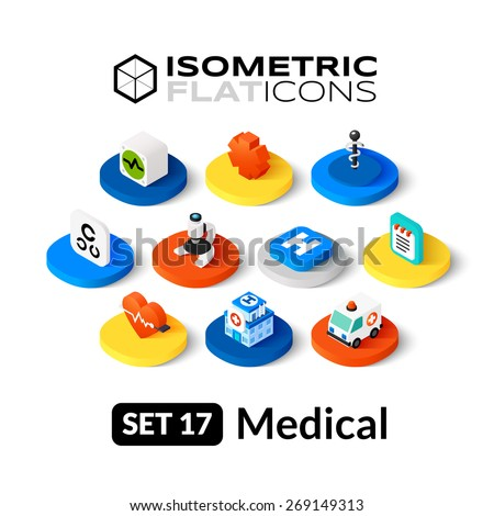 Isometric flat icons, 3D pictogram vector set 17 - Medical symbol collection - stock vector