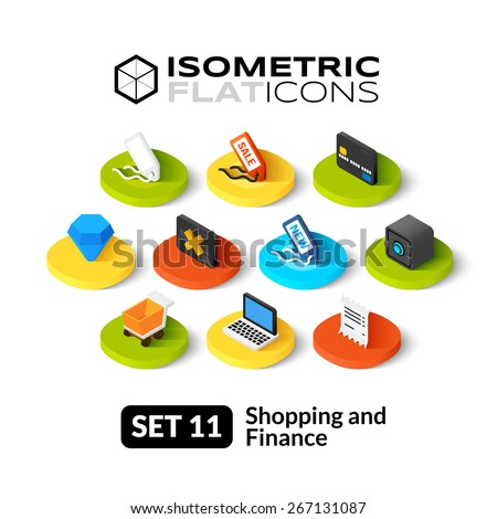 Isometric flat icons, 3D pictogram vector set 11 - Shopping and finance symbol collection  - stock vector