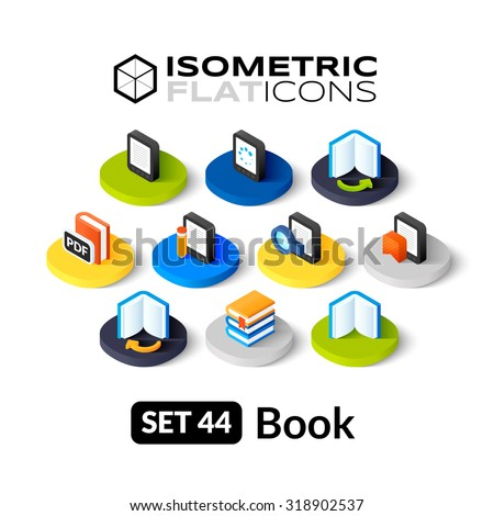 Isometric flat icons, 3D pictograms vector set 44 - Book symbol collection - stock vector