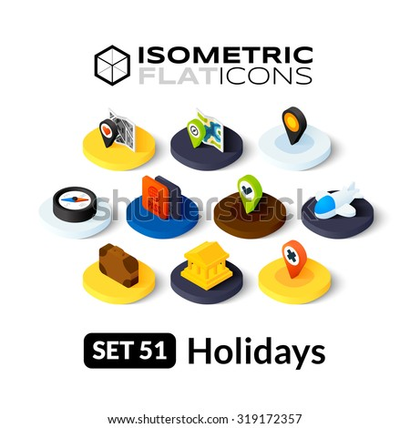 Isometric flat icons, 3D pictograms vector set 51 - Holidays symbol collection - stock vector