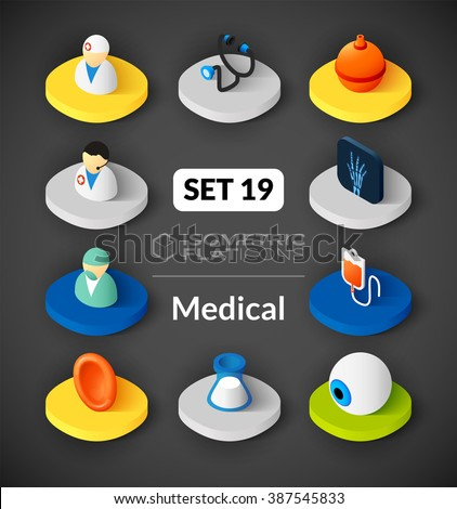 Isometric flat icons, 3D pictograms vector set 19 - Medical symbol collection - stock vector