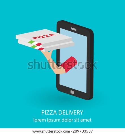 Isometric flat pizza delivery concept with hand holding out pizza boxes from smartphone or tablet, vector illustration.  - stock vector