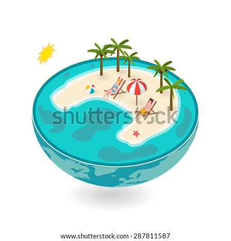 Isometric flat tropical island in miniature globe isolated on white background. 3d travel and vacation concepts with deck chairs, little people, beach ball, star fish, palms, sea and sand - stock vector