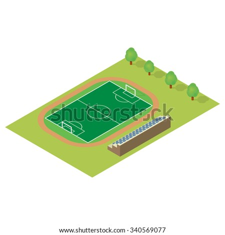 Isometric football field isolated on white background - stock vector