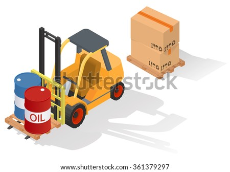 Isometric forklift truck with barrel on wooden pallet. Isolated on white background - stock vector
