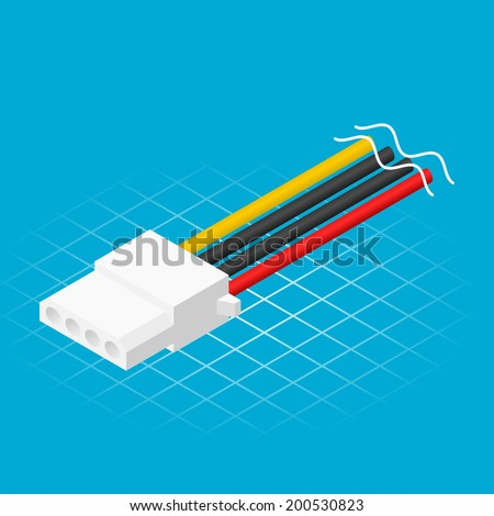Isometric Four Pin Power Connector Vector Illustration - stock vector