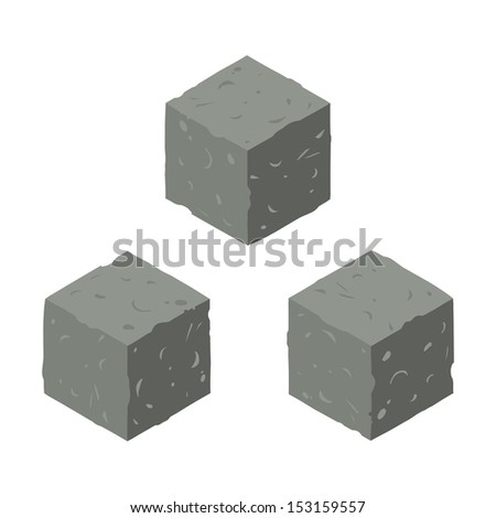 Isometric game brick cubes set. Vector stone cubes design elements for games. - stock vector
